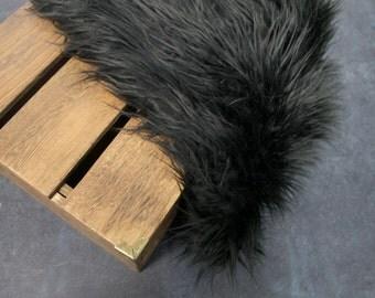 "Black Soft Mongolian Faux Fur, 3"" Long Pile Newborn Cuddly Faux Fur Nest Newborn,Baby Posing Photo Prop, Stuffer,PhotoProp Layering blanket."