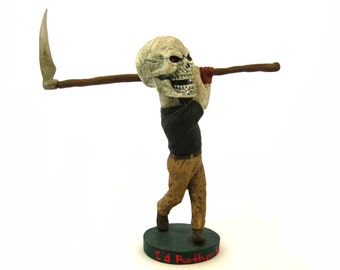 """Assemblage Art - """"The Grim Greenskeeper"""" - 2014 - Twisted Bobblehead Toy Altered Toy Art Assemblage Sculpture - by Artist Benjamin Beckley"""