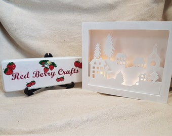 Wooden Town Scene Shadow Box - Hand Painted Birch Plywood