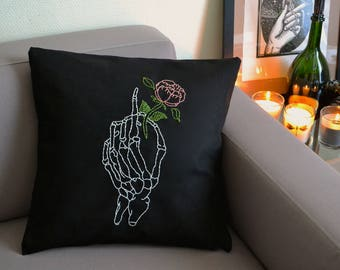 skeleton hand and sewn and hand embroidered flower Cushion cover