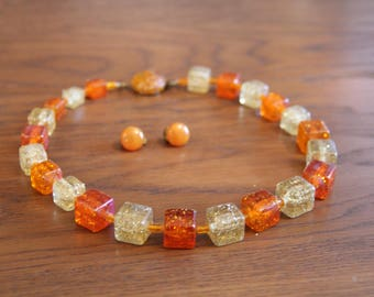 Vintage amber necklace and clip-on earrings