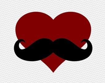 Heart mustache dad  SVG Clipart Cut Files Silhouette Cameo Svg for Cricut and Vinyl File cutting Digital cuts file DXF Png Pdf Eps vector