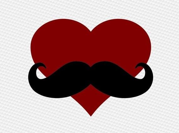 Heart Mustache Dad Svg Clipart Cut Files Silhouette Cameo Svg