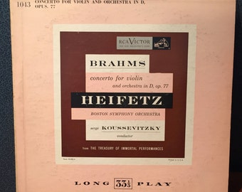 Brahms- concerto for violin: Heifetz- Boston Symphony Orchestra