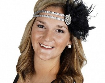 Great Gatsby - Harlem Nights - Roaring 20's Feather Headband - HBD1930