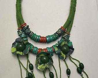 bib necklace, boho  necklace