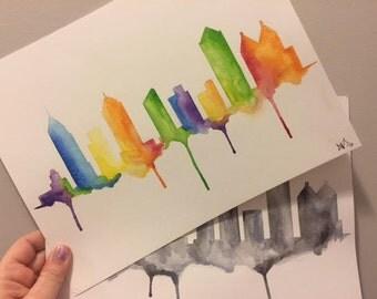 """Atlanta Skyline Watercolor (9X12"""")"""