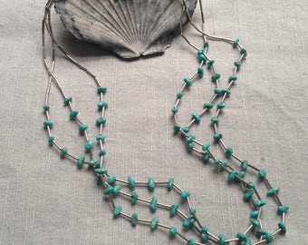 Vintage liquid silver and turquoise necklace