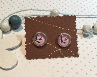 Swallow earrings cabochon