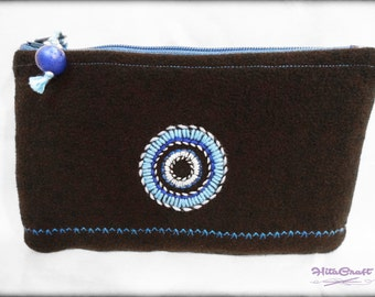 Small padded pouch with modern round embroidery - black and blue - to store your glasses, phone, makeup, pens, etc.