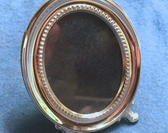 "Vintage Miniature Sterling Silver Picture Frame - ""Josephine"" - Oval Fluted"