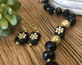 Indian jewelry; Indian traditional jewelry; black traditional jewelry set; Indian traditional jewelry set; Black Onyx stone Indian jewelry ;