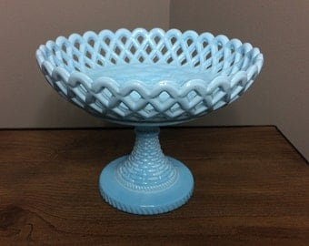 Vintage Blue Milk Glass Fruit Bowl / Compote