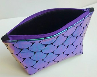 Iridescent Fish Scale Makeup Bag - Gift for Her - Cosmetics Bag - Purple and Teal - Purse Organizer - Standing Makeup Bag