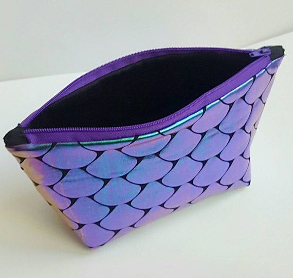 Iridescent Fish Scale Makeup Bag - Gift for Her - Valentine's Day - Purple and Teal - Purse Organizer - Standing Makeup Bag