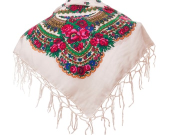 WHITE folk SCARF shawl with flowers and fringes POLAND scarves fashion colors