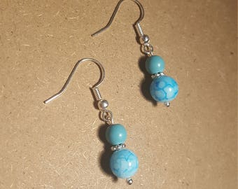 Blue Turquoise Earrings, Simple, Minimalist, Silver, Dangly Earrings