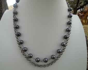 Black Pearl Necklace Set