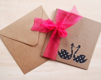 Polkadot Swan / Fuchsia Organza Ribbon Love Greetings Card (Wedding, Engagement, Anniversary etc)