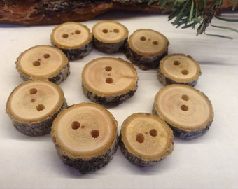 Wooden Branch Buttons, different thickness 10 pcs