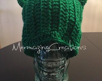 Green Pussyhat - Green Pussycat Hat - Pussycat Hat - Pussyhat Project - Pussyhat Green - Pussyhat Crochet - Crochet Cat Hat - Green Hat