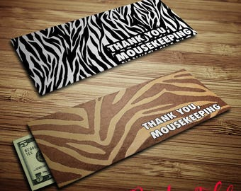 Animal Print Mousekeeping Envelopes - Instant Download