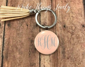 Initial Keychain, monogram keychain, personalized gift, tassel keychain, custom keychain, initial accessory, gifts for her, curl monogram