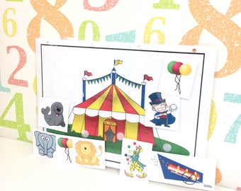Movable circus scene, Reusable, Nursery, Pre-school, Interactive play, early years, Visual learners, PECS, Children's development, EYFS