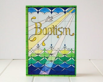 "Baptism Card - Stained Glass ""Baptism"""
