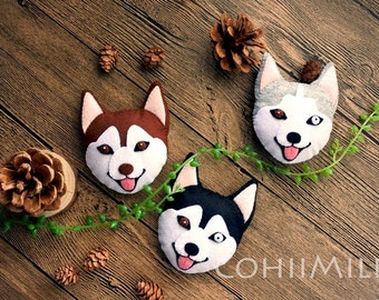 Handmade Husky Dog Felt cellphone strap or brooch