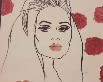 Adele with roses