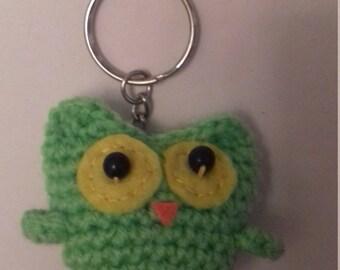 Crocheted Owl Keyring Light Green Yellow Eyes