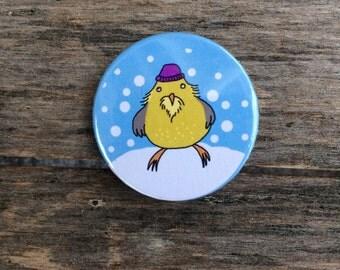 A winter bird badge