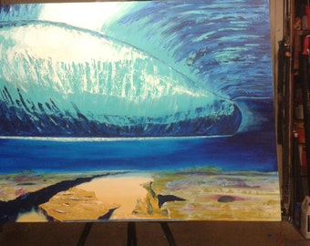 Under Pipeline, by DMCardenas, surf art prints on canvas or 300-330 paper, wave painting