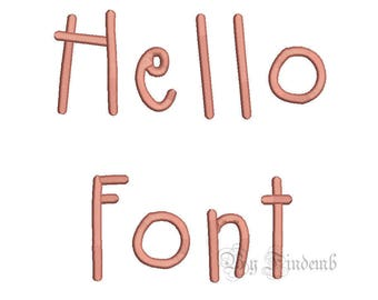 Hello Embroidery Font Designs 5 size Instant Download