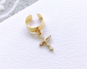 Gold Plated Ear Cuff with Gold Cubic Zirconium Cross Pendant