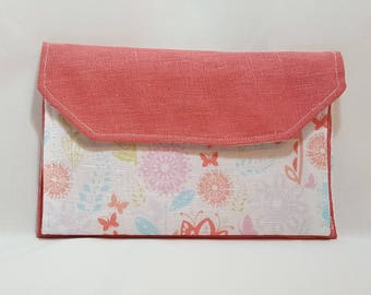 Peach linen clutch - Peach linen - Linen clutch - Purse clutch - 3 pocket clutch - Linen 3 pocket clutch - Linen evening bag