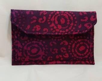 Batik clutch - Clutch purse - Handmade clutch -Red clutch bag - Evening bag - Aztec print - Evening clutch - Clutch bag - Small clutch