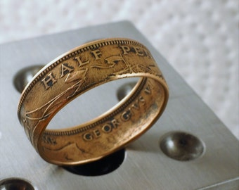 1948  1/2 Penny coin ring
