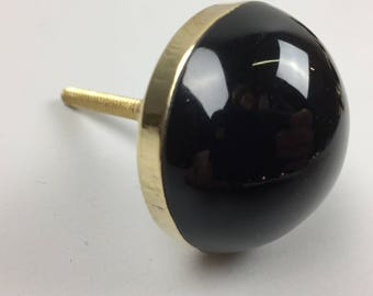 LARGE BLACK KNOB with Gold Surround - Home decor drawer pull
