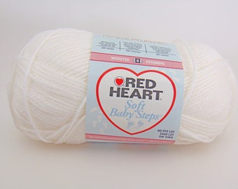 White - Red Heart Soft Baby Steps acrylic  Yarn Baby Yarn - 3022