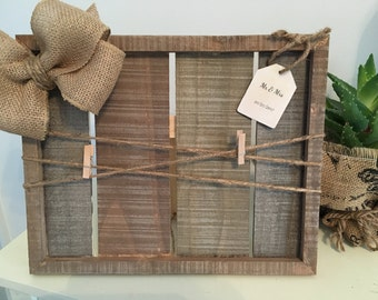 Farmhouse rustic wedding frame personalized