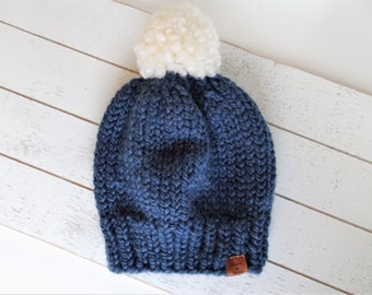 Knit Pom Toque, Navy Blue,  Ready to Ship Size Toddler