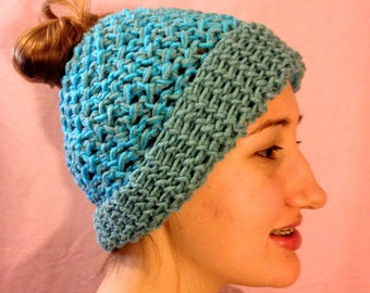 Blue Crocheted Bun/Ponytail Hat