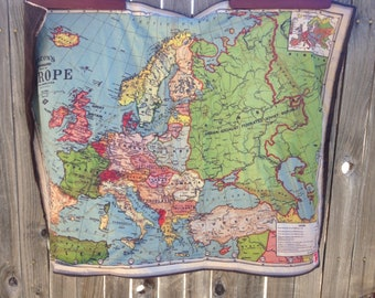 EUROPE Map minky blanket- baby cuddle quilt- shoulder wrap- wheelchair lap blanket- vintage map of Europe- 31 by 42 inches