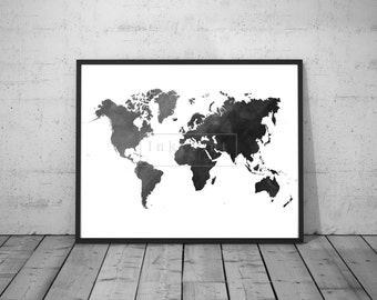 Printable Black Watercolor World Map