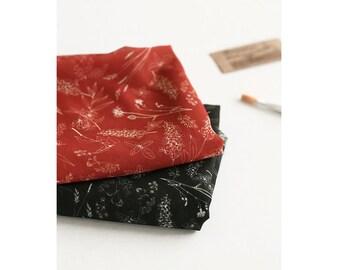 "Botanical Chiffon Fabric Red Black wide 59"" by Yard Fashion Apparel Scarf Accessories"