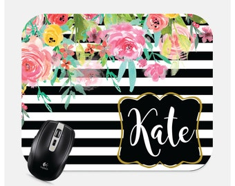 Personalized Mousepad- Monogram Mousepad- Custom Mouse Pad- Floral Mouspad- Computer Accessories