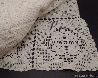 Handmade crochet white tablecloth