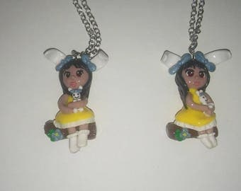 Handmade Easter Chibi Girl Polymer Clay Charm Pendant Necklace